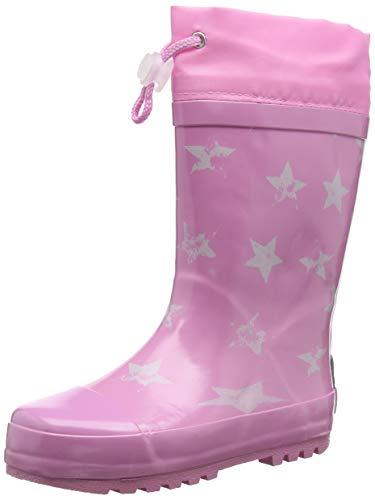 Playshoes Kinder Gummistiefel aus Naturkautschuk, trendige Unisex Regenstiefel mit Reflektoren, mit Sternen-Muster, Pink (Rosa 14), 24/25 EU