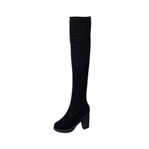 Stiefel Damen Schuhe Sonnena Fashion Stricken Langschaft Stiefel Overknee Boots Frauen Zehen Elastische Stretch Dicke Ferse Stiefel Blockabsatz Boots Wildleder Martin Stiefel (39, Sexy Schwarz) (Overknee Stretch-plateau Boot)