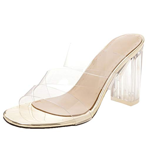 AIYOUMEI Offene Slipper Damen Blockabsatz High Heels Pantoletten Transparent Sandalen Durchsichtig Absatz Sommer Gold 38.5 EU -