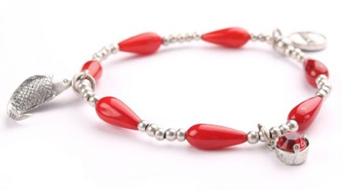 Exoal Armband Run aground Bangle Goldfish Red Silver