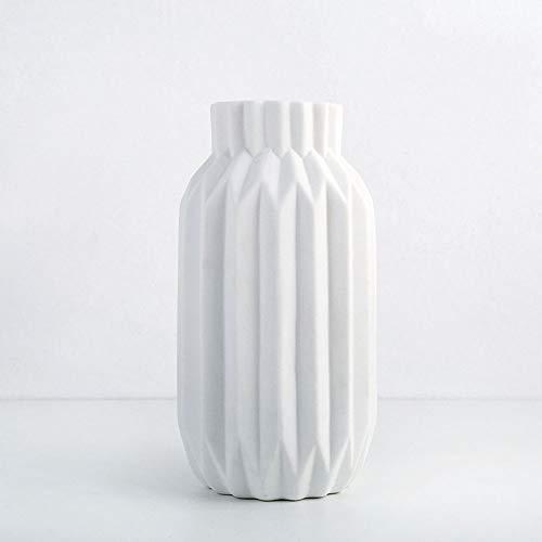 KDSC Keramik Kleine Vase Moderne Geometrische Kleine Frische Keramik Aromatherapie Flasche Moderne Kreative Wohnzimmer TV Schrank Esstisch Dekoration,White - Weißer Boden-vasen
