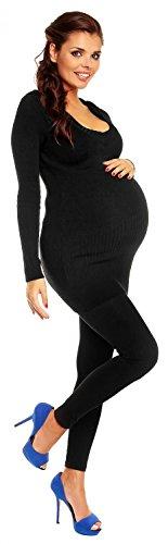 Zeta Ville Maternité - Le pull long de grossesse - pull à capuche - femme 908c Noir
