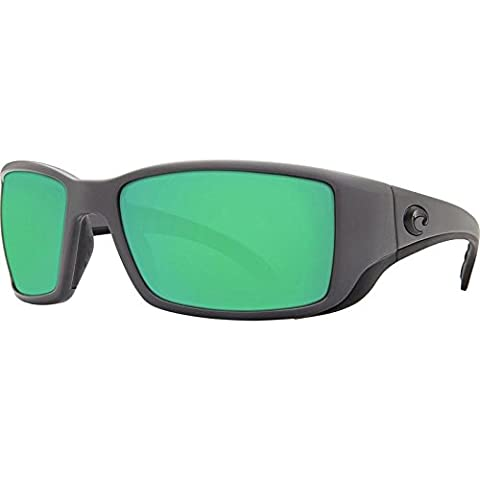 Costa Del Mar BL98OGMGLP Blackfin Mens Matte Gray Frame Green Mirror 580g Lens Rectangular Polarized