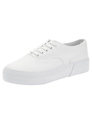 oodji Ultra Damen Sneakers mit Dicker Sohle, Weiß, 41 EU/7 UK