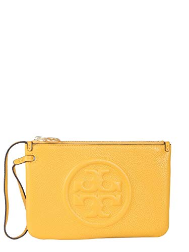 Tory Burch Damen 56356707 Gelb Leder Clutch