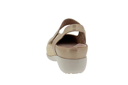 Chaussure femme confort en cuir Piesanto 4681 sandale semelle amovible comfortables amples Platino