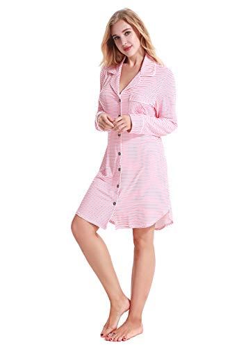 NORA TWIPS Damen-Pyjama, Damen Nachthemd Langarm Sleepshirt nachtkleid Nachtwäsche Schlafanzug Schlafshirt(Rosa,L)
