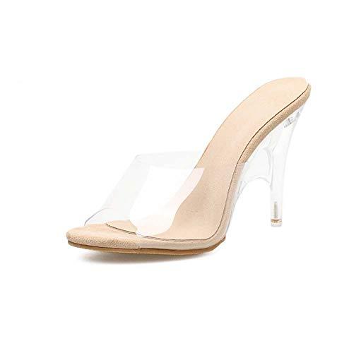 GHFJDO Damen klare offene Spitze Zehe High Heel Mules sexy Sandalen für Kleid Heels Damen Stiletto Sommer Schuhe,Clear,40EU