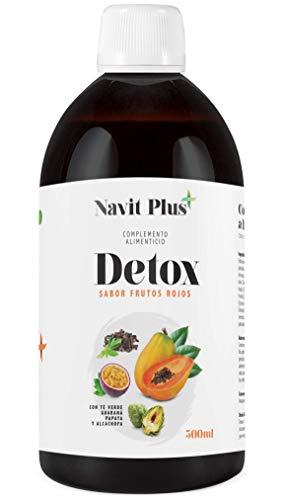 Detox dimagrante | Potente diuretico naturale liquido 500 ml gusto frutti di bosco | Formula detox drenante, antiossidante | Eliminazione delle tossine | Tè verde, guaranà, papaya, carciofo | VEGANO.