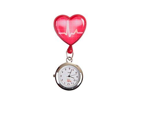 Preisvergleich Produktbild Ausziehbare Taschenuhr mit rotem Herz,  EKG-Kurve,  ideal für medizinisches Fachpersonal