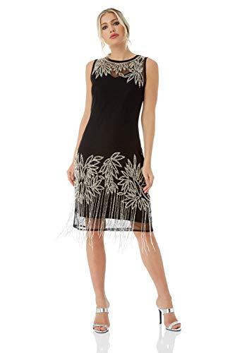 Roman Originals Damen Verziertes Flapper-Kleid - Damen ärmellose, knielange Kleider, 1920er, Great Gatsby, Party, abends, Vintage, Retro, Weihnachten, Cocktails, Verkleiden - Schwarz - Größe 46