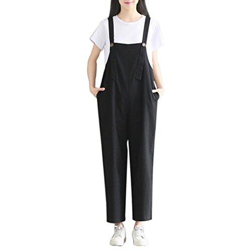 OSYARD Damen Jumpsuit Strap Bib Hose Hosen Lässige Overall Baggy Hosen Hosen(EU 48/XL, Schwarz) (Capri Bib)