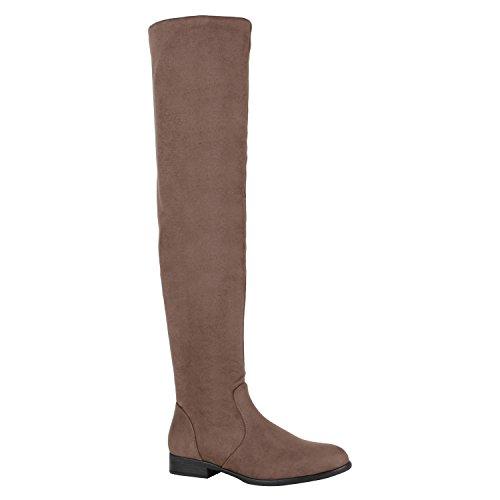 Gefütterte Damen Overknees Metallic Winter Stiefel Leder-Optik Schuhe 149771 Khaki Avelar 38 Flandell