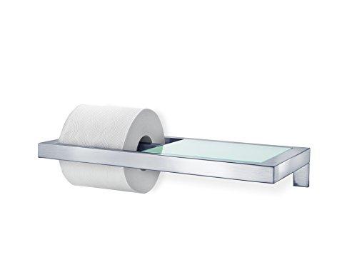 Blomus 68831 WC-Rollenhalter mit Ablage aus satiniertem Glas Menoto, edelstahl