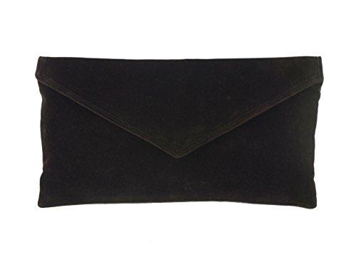 LONI Neat Umschlag Faux Wildleder Clutch Bag/Schultertasche in dunkelbraun