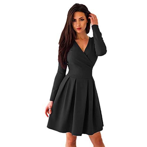 Frauen tiefes V-Ausschnitt Langarm Volltonfarbe Minikleid YunYoud A-Linie Rock Über dem Knie Kleid damen abendkleider langer schöne damenrock günstige kleid partykleider