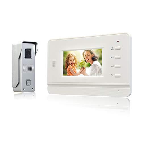 Nudito Video Türsprechanlage Türklingel Kit, Gegensprechanlage System (1 X 4 Zoll Ultra dünn LCD Monitor, 1 X Überwachungskamera mit Infrarot Kamera und Nachtsicht, Wasserdichtes Design)