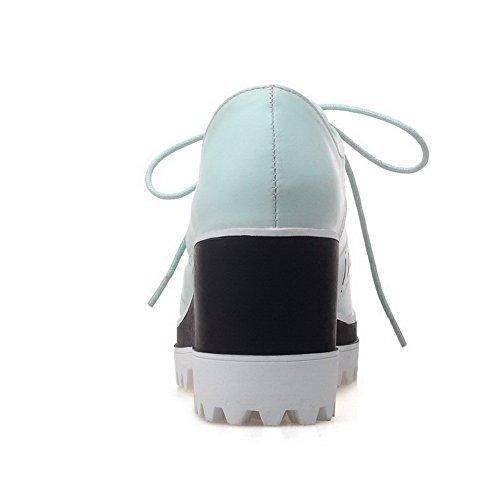 AllhqFashion Femme Lacet à Talon Haut Pu Cuir Rond Couleur Unie Chaussures Légeres Bleu