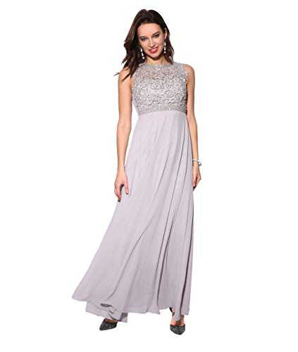 KRISP Damen Bodenlanges Abendkleid aus Chiffon mit Spitze & Perlen, Grau (2407), 38 EU (Herstellergröße: S, 10), 2407-GRY-10 - Chiffon Kleid Im Empire-stil