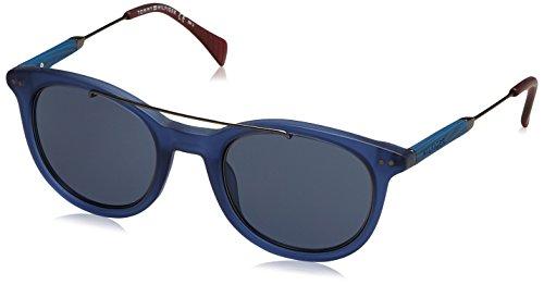 Tommy hilfiger th 1348/s 72 ju7, occhiali da sole uomo, blu (bluette ruthenium wood/bluee), 49