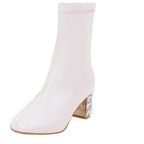 Sonnena Lederstiefel Lackstiefel Retro Damen Sexy High Heel Mittelrohrstiefel Boots Schuhe mit...