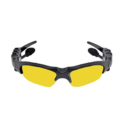 LINDANIG Antwort Eine Stereo-Bluetooth-Brille Polarisierte Sonnenbrille Bluetooth-Bewegung Bluetooth-Brille USB-Aufladung (Color : Yellow)
