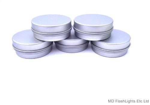MD FlashLights Etc Ltd 5 x 15 ml rond argent vierge Baume à lèvres Moules Idéal pour bushcraft, arts & Crafts