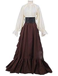 lancoszp Vestidos de Lolita Medievales Goticos Retro Victoriano Falda Plisada Larga + Blusa