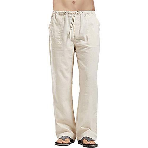 Toasye Herren Leinen Plus Größe Tasche Hosen lose Hosen Strand tragen elastische Taille Hosen elastische Hosen Kordelzug Hosen Hosen elastische Taille -