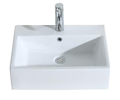 Eridanus Série Monterosso, Vasque à Poser Suspendu Rectangulaire Salle de Bain Lavabo en Céramique Lave-Mains L54*L41*H15cm