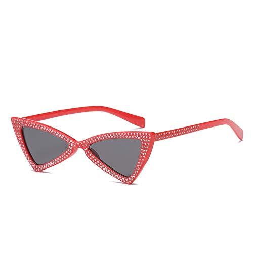 WSXCDEFGH Dreieck Sonnenbrille für Frauen Marke Strass Sonnenbrille cat Eye Damen kleinen Rahmen Sonnenbrille Schatten