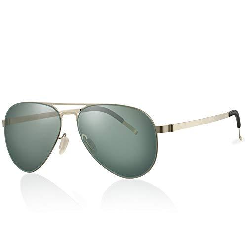 Highland Park sonnenbrille männer polarisiert Herren Pilotenbrille damen Super Licht verspiegelt Retro Nylon Linsen Unisex UV400 Schutz mit harter Box (Gold / G15)