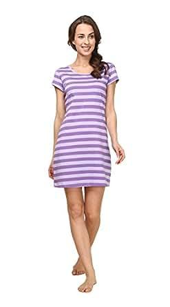 Suntasty gestreiftes Sleepshirt Damen Nachthemd - kurz Basic-Sleepshirt kurzarm Nachtkleid Rundhals Negligee Nachtwäsche (Violett,S,1001W)