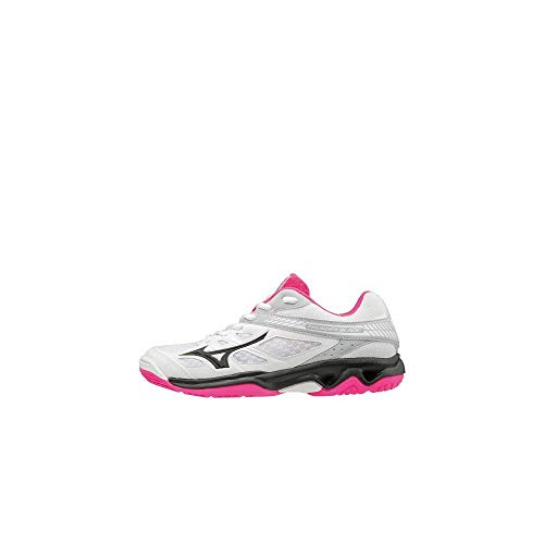 Mizuno Damen Thunder Blade Sneakers, Mehrfarbig (White/Black/Pink Glo 001), 38 EU