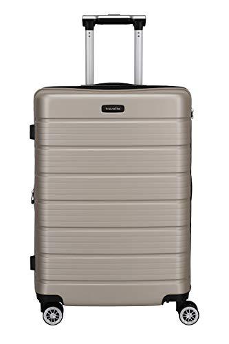 Travelite Funktionaler, smarter, starker, sportlich-eleganter Business-Reisekoffer Hartschalen Trolley Soho Koffer, 66 cm, 72 Liter, Champagner