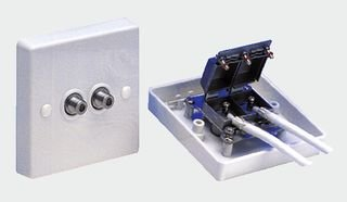 SOCKET, SCREENED TWIN 'F' TYPE BP7005 By MAXVIEW F-type Wall Plate