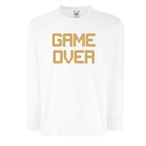 Kinder-T-Shirt mit Langen Ärmeln Spiel über lustige Gamergeschenke (7-8 Years Weiß ()