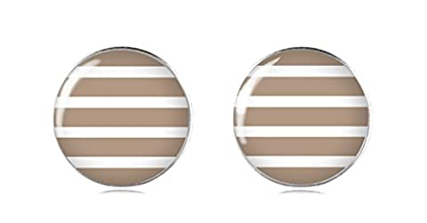 Brown Stripes Handmade 12 mm Fashion 925 Sterling Silver Stud Earrings for Girls and Women by Tizi Jewellery