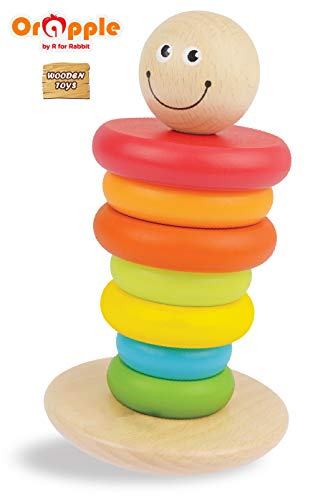 Orapple Toys by R for Rabbit Rainbow Rocking Stacker - Wooden Stacking Rings Toys for Baby/Kids Learning or Educational Toys for Boys & Girls of 1,2,3,4 Years Old Age(Multicolor)