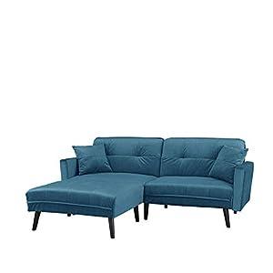 Canapé d'angle de style méridienne classique et élégante     Angle interchangeable et convertible selon vos envies grâce à un repose pieds qui se place où bon vous semble     Modèle pouvant prendre la position complètement couchée pour faire ...