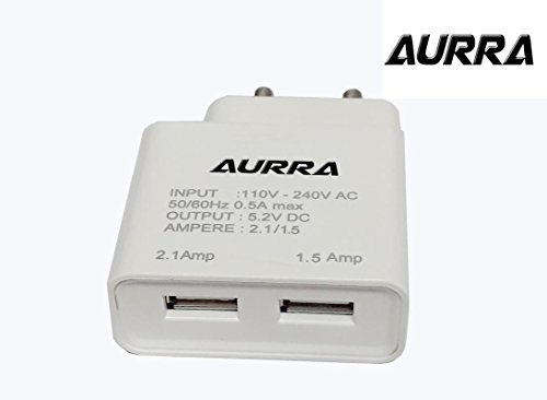 AURRA Heavy Duty Fast Charging 2 AMP Wall Travel Charger Adapter with 1 USB Port in-built Auto-detect Technology With 1.2 Meter Micro Usb Data / Charging Cable For Lenovo K3 Note And All Smart Phone ( White / Black )