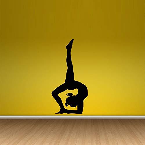 ljradj Schöne Yoga Zen Gym mädchen tapete abnehmbare wandaufkleber für Gym Hintergrund Vinyl Aufkleber Home Sport Zimmer Kunst Aufkleber rosa 42x87 cm