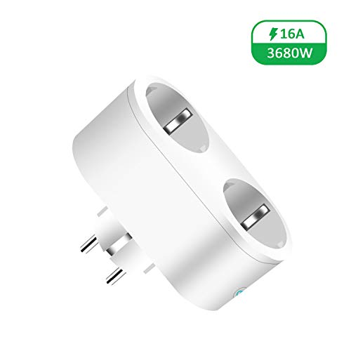 JULES V Smart Plug 2 in 1 Wi-Fi-Mini-Steckdosen 16A-Timing-Switch Energieüberwachung kompatibel mit: Amazon Alexa und IFTTT Google Assistent - zwei Ausgänge, Kann einzeln oder in Gruppen arbeiten (1)