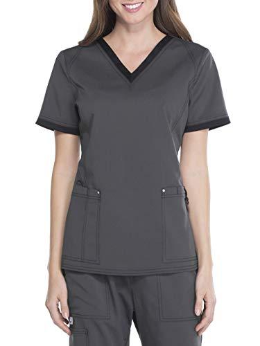 Smart Uniform V - Neck Top SM018 (L, Pewter) - Loop-seitenteile