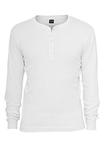Slim 1by1 Henley L/S Tee White