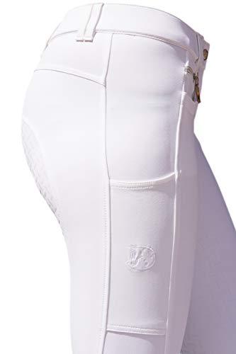 RidersDeal Collection Reithose mit Silikonvollbesatz und Handytasche für Damen, weiß