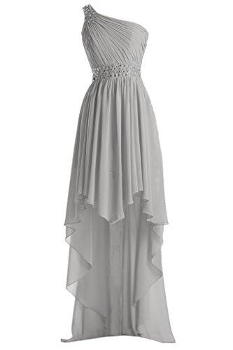 Promgirl House Damen Elegant Chiffon A Linie Abendkleider Ballkleider Brautjungfernkleider Lang Grau