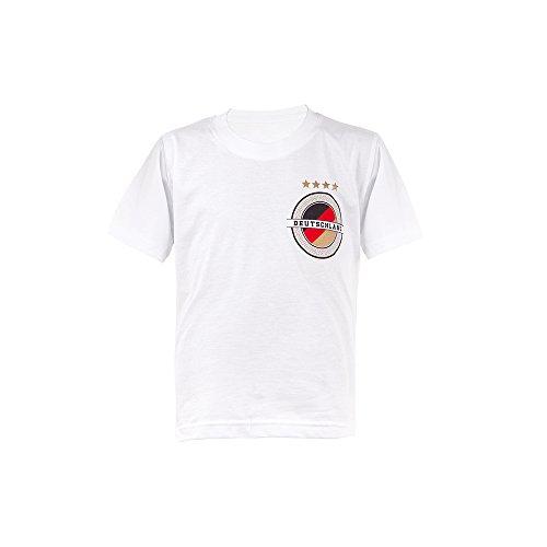 Deutschland EM 2016 Fanshirt – Kinder Crew-Neck T-Shirt – Trikot, 134/146, weiß