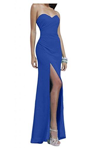Gorgeous Bride Modisch Herz-Ausschnitte Lang Etui Chiffon Lang Schlitz Abendkleider Festkleider Ballkleider Royalblau