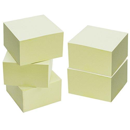COM-FOUR® 5er Sparpack , Haftnotizen Notizzettel Klebezettel fürs Büro gelb 75 x 75 mm je 480 Blatt, Gesamt: 2400 Blatt (05x gelb)